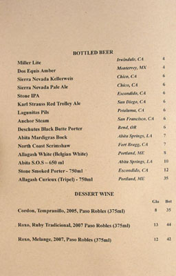 Wood & Vine Beer List