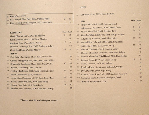 Wood & Vine Wine List