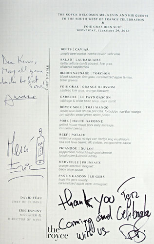 The Royce South West France Menu