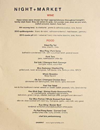 Prvy Asian Palate Menu at Night+Market