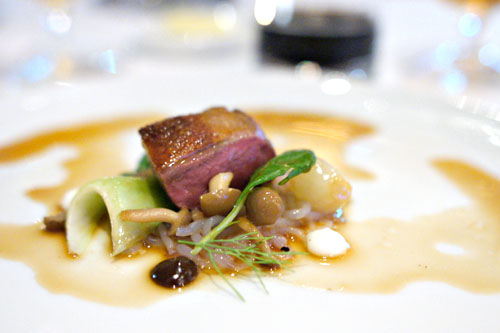 Peking-style squab with yam noodles, Hon Shimeji mushrooms, garlic emulsion, and sesame-soy broth