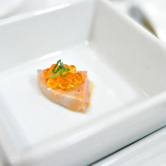 foie de lotte, miso-mustard vinaigrette, sea trout roe