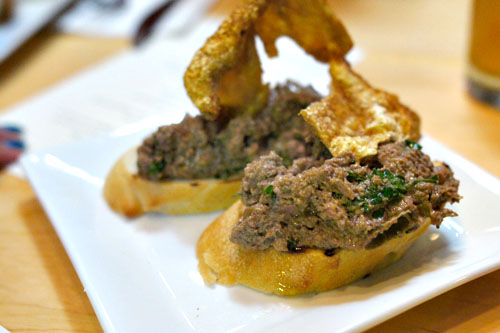 Spicy Chicken Liver on Toast with Chicken Cracklin'