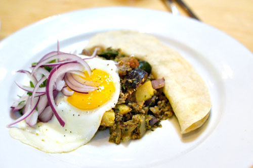Longaniza Sausage Hash, Fried Egg