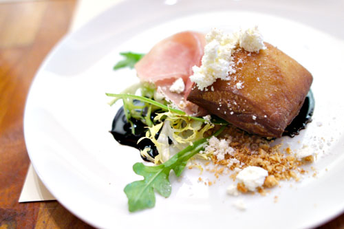 raclette beignet, prosciutto, olive oil powder, malt vinegar, star anise