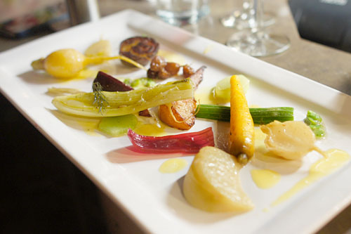 'veggie plate', beets, pickled onion petals, turnips, radish, kohlrabi, pears, rutabaga, grapes, scallions, fava beans, celtuce