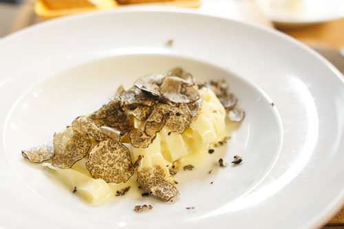 house made fettuccini, black winter truffles