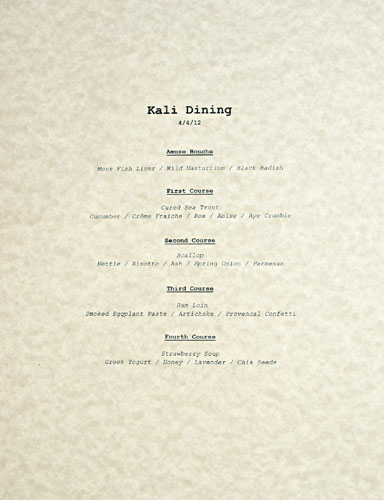 Kali Dining Menu