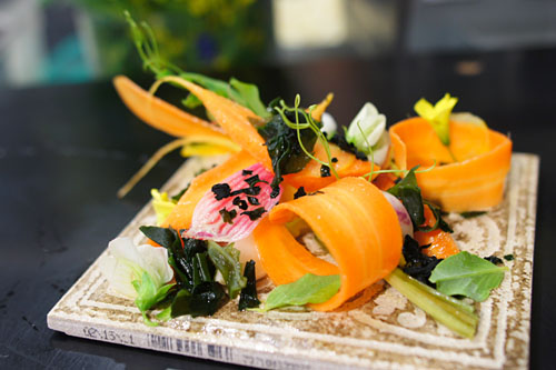 Crudite, urchin bottarga and seaweed
