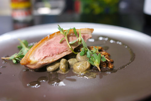 Duck breast, braised fava, chanterelle, black olive oil