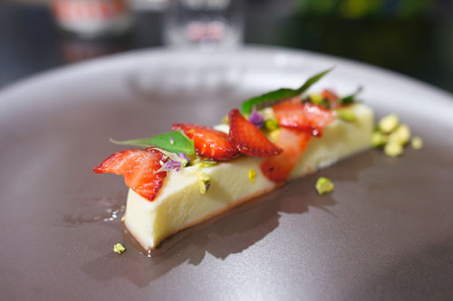 Raw milk curd, gaviota strawberry, pistachio, lime, anise hyssop