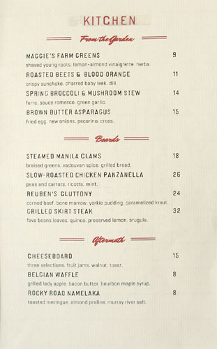 Freddy Smalls Menu