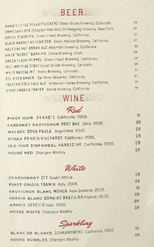 Freddy Smalls Beer and Wine List