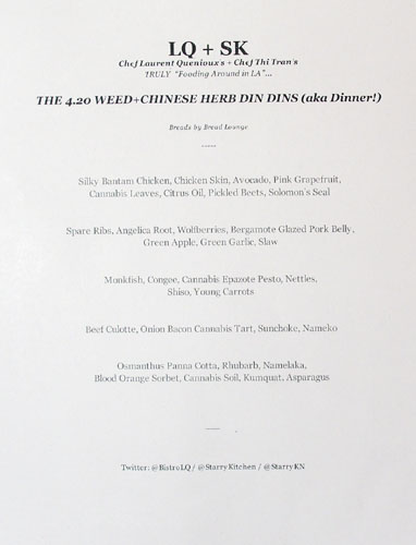 LQ + SK 4.20 Weed and Chinese Herb Dinner Menu