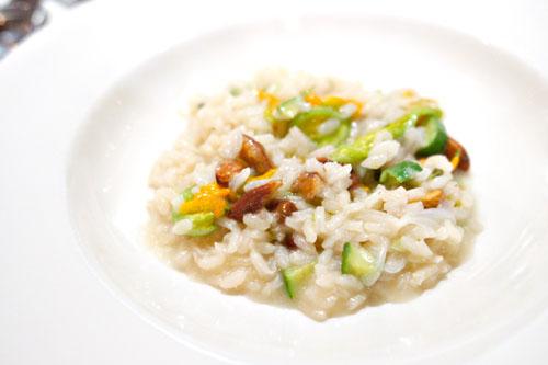 Squash blossom risotto