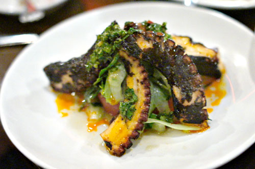 beer-braised grilled octopus