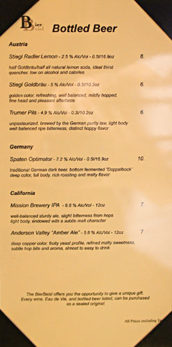 BierBeisl Bottled Beer List