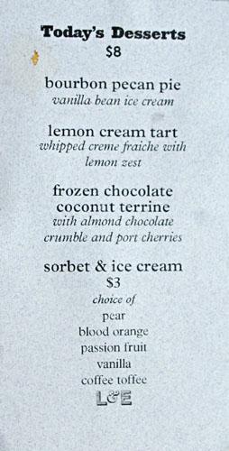 L&E Oyster Bar Dessert Menu