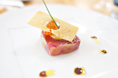 Artisan Foie Gras Torchon and Bigeye Tuna with Mustard Fruit and Saba