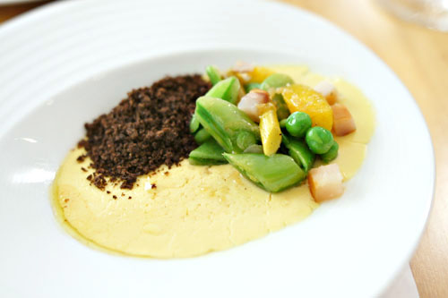 Foie Gras Custard, Spring Vegetables, Smoked Sturgeon, Rye