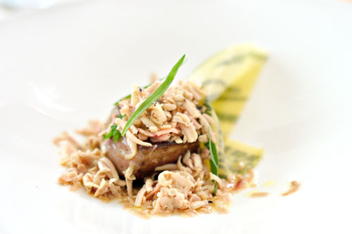 Dry-aged Beef 'Boullion,' Foie Gras Fondue, Tarragon Printed Pasta, Crimini Mushroom