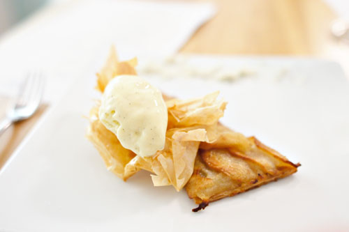 Pacific Rose Apple Tart 'Roti', Vanilla-Calvados Ice Cream, Roquefort Papillon