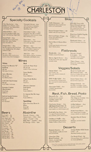 The Charleston Menu