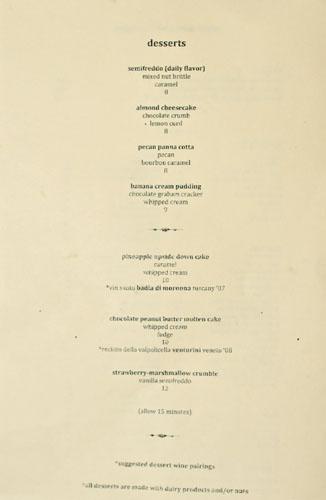 Bäco Mercat Dessert Menu