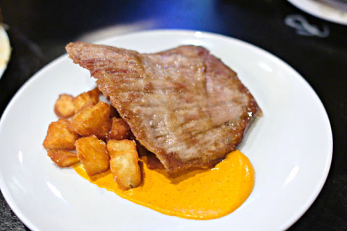 Iberico De Bellota Secreto, Romesco, Blumenthal Potatoes