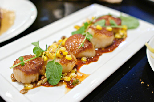 Pan Roasted Hand Diver Scallops, Ranchero, Charred Corn