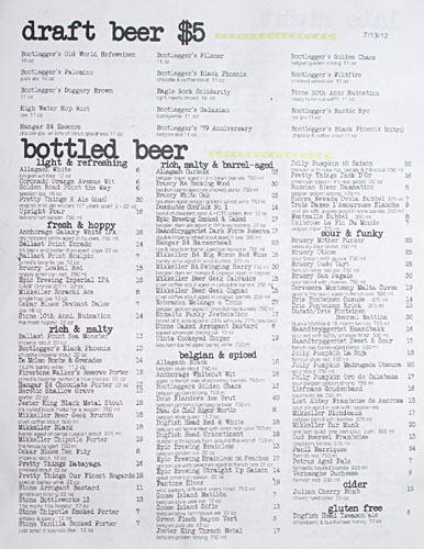 Playground Beer List