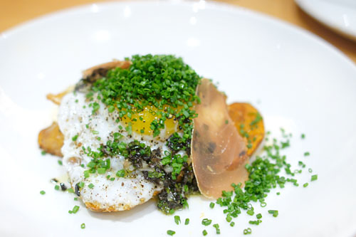 fried duck egg, papas bravas, truffle vinaigrette & tuna prosciutto