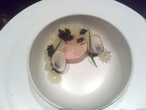 chicken liver steamed in rice wine, caviar, green apple, radish, brioche