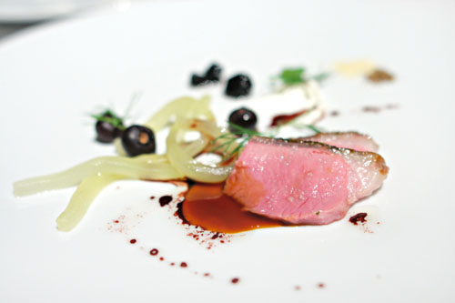 Lamb and cucumber, blueberries with juniper