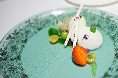 Berries, anise hyssop, kefir and verjus sorbet