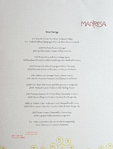 Manresa Wine Pairings