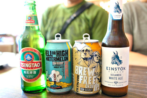 Tsing Tao / 21st Amendment Watermelon Wheat / 21st Amendment IPA / Einstök Icelandic White Ale