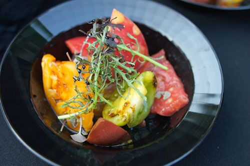 Heirloom Tomato Salad, Charentais Melon, Vinaigrette with Greens and Reduced Balsamic
