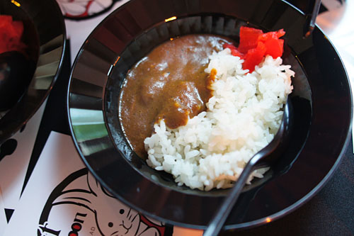 Beef Tongue Curry: Chopped Beef Tongue with White Rice, Curry Sauce and Pickles