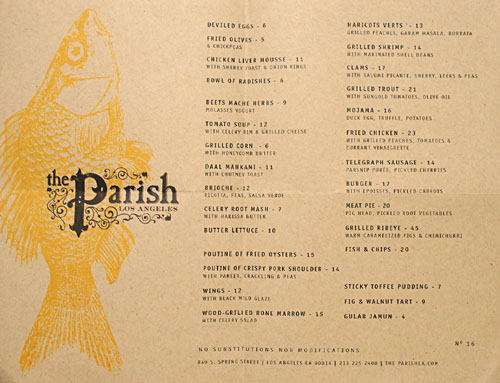 The Parish Menu