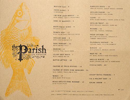 The Parish Menu
