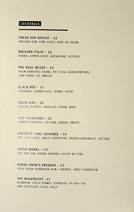 The Parish Cocktail List