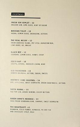 The Parish Cocktail List