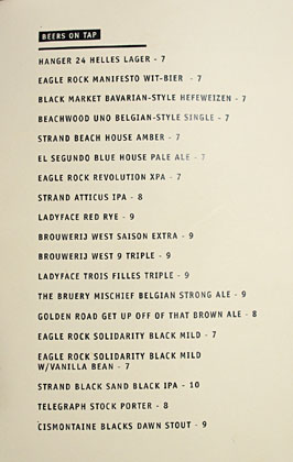 The Parish Beer List
