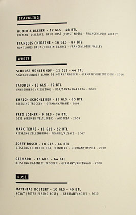 The Parish Wine List