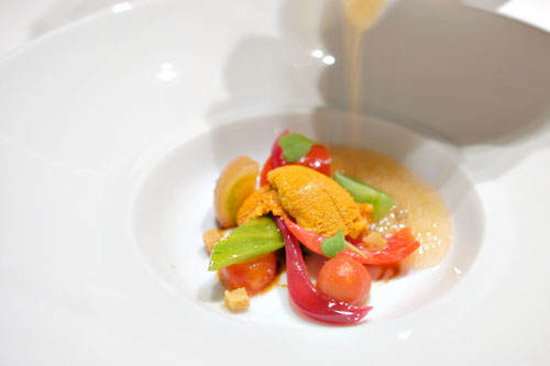 Heirloom tomato salad, Santa Barbara sea urchin, soy caramel