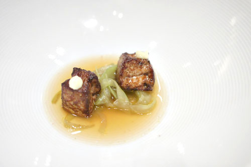 Seared Dices of Foie Gras with Horseradish, 'Braised-Grilled' Celery Stalk Serpentines, Potato Chips Bouillon