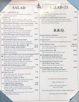 Lotus of Siam Menu: Salad & B.B.Q.