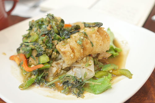 Sea Bass with Drunken Noodle