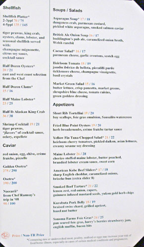 Gordon Ramsay Steak Menu